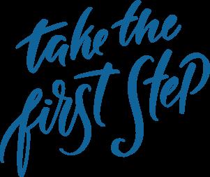会員候補者が「初めの第一歩」を踏み出してくれるように願って書かれた「first step」の筆記体。