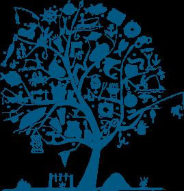 多彩なクラブ活動を展開するあまロータリークラブをひとつの木に見立て、様々な趣味のイラストを吊り下げたツリーのイラスト